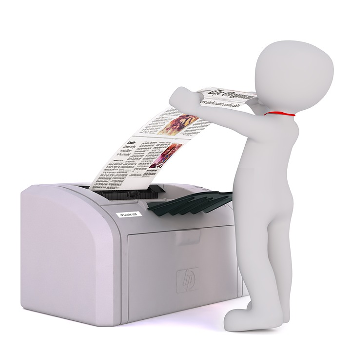 Silhouette of a figure using a printer
